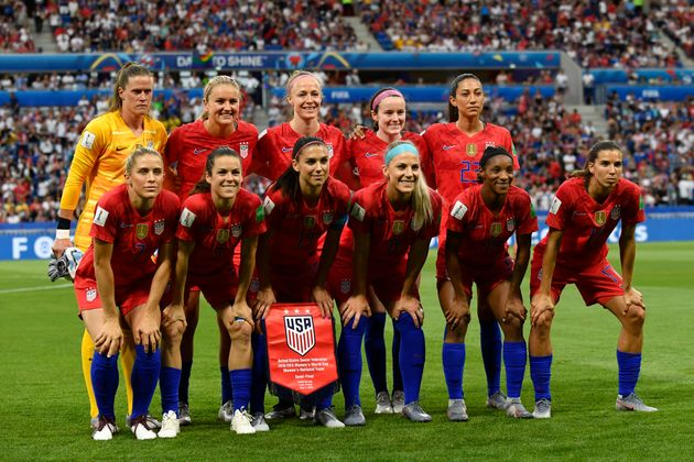 The US team poses for the team's photo during the World Cup match.