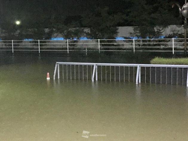 西日本豪雨時の岡山市内の夜間の様子(2018-07-07)