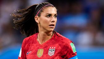 LYON, FRANCE - JULY 02: Alex Morgan of USA looks on during the 2019 FIFA Women's World Cup France Semi Final match between England and USA at Stade de Lyon on July 02, 2019 in Lyon, France. (Photo by Quality Sport Images/Getty Images)