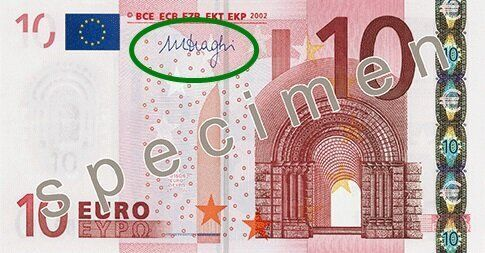 La signature de Mario Draghi, président de la BCE, apparaît actuellement sur les billets...