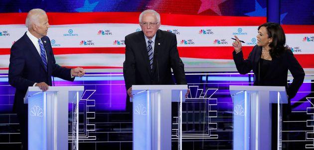 Joe Biden, Bernie Sanders et Kamala Harris lors des débats