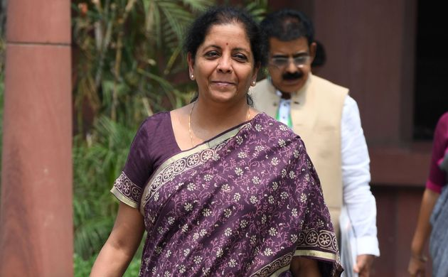 Finance Minister Nirmala Sitharaman walks to the Parliament in New Delhi on July 2,