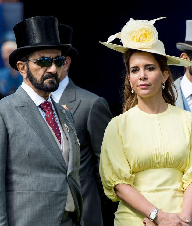 Princess Haya Bint Al Hussein and Sheikh Mohammed Bin Rashid Al Maktoum attend Derby day at Epsom Derby...
