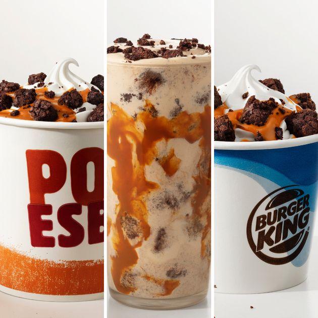 Balde, Shake e BK Mix, todos com sorvete de baunilha, pedaços de brownie e calda de doce de