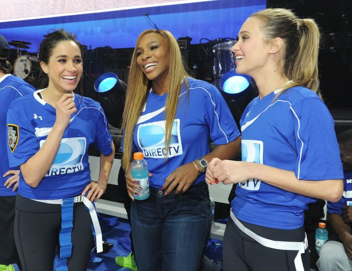 Meghan Markle, Serena Williams and Hannah Davis participate in the DirecTV Beach Bowl at Pier 40 on Feb. 1, 2014, in New York