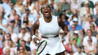 LONDON, ENGLAND - JULY 02: Serena Williams (USA) celebrates during her match against Giulia Gatto-Monticone in their Ladies' Singles First Round match during Day 2 of The Championships - Wimbledon 2019 at All England Lawn Tennis and Croquet Club on July 2, 2019 in London, England. (Photo by Rob Newell - CameraSport via Getty Images)
