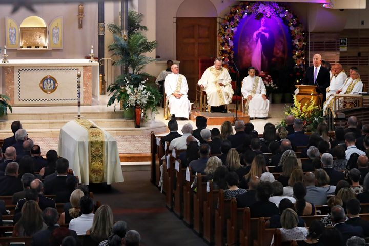 The funeral Mass was held at Immaculate Conception Church, in the Queens borough of New York, on Wednesday.