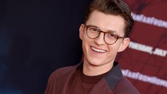 "HOLLYWOOD, CA - JUNE 26:  Tom Holland attends the premiere of Sony Pictures' ""Spider-Man Far From Home"" at TCL Chinese Theatre on June 26, 2019 in Hollywood, California.  (Photo by Gregg DeGuire/WireImage)"