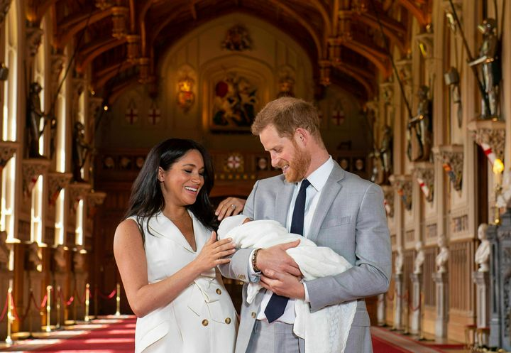Meghan Markle and Prince Harry with their baby, Archie Harrison Mountbatten-Windsor, on May 8.