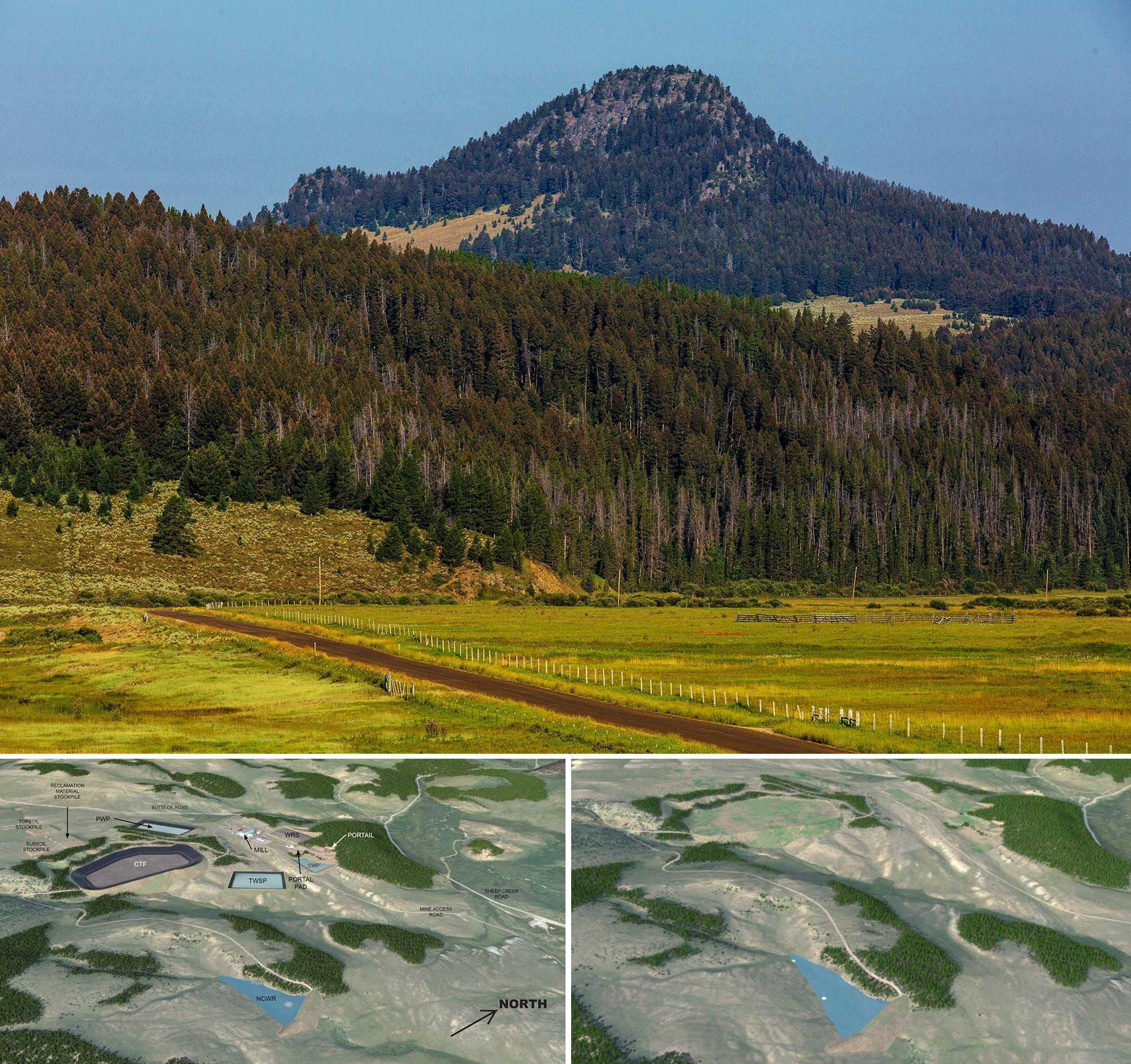 Top: A picture of the project site and Black Butte, the feature for which the proposed mine is named. Bottom left: A renderin