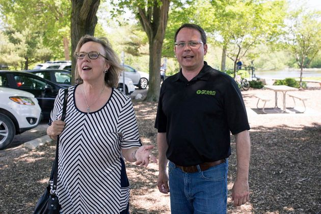 Green Party of Ontario Leader Mike Schreiner and federal Green Party Leader Elizabeth May make an announcement...