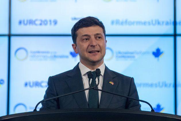 Ukrainian President Volodymyr Zelensky addresses the Ukrainian Reform conference in Toronto on July 2,