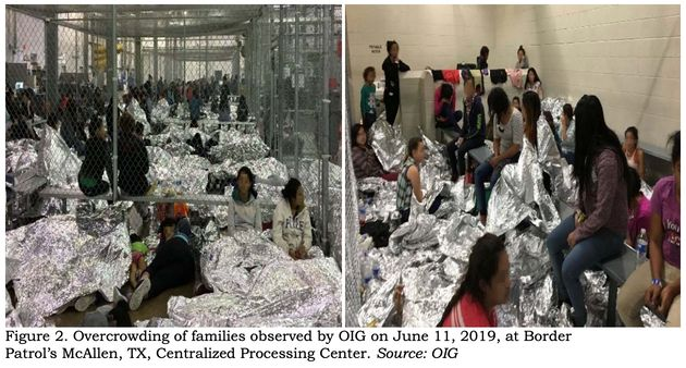 Inspectors observed families crowded into the Border Patrol's McAllen, Texas, station on June