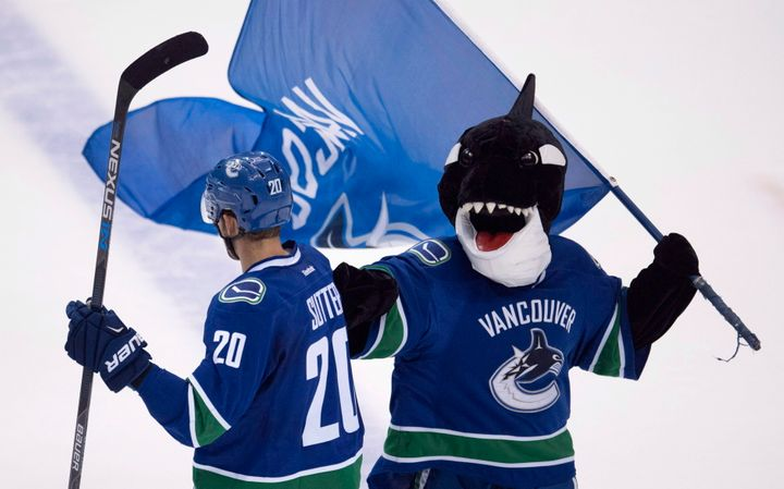 Fin, Vancouver Canucks mascot during a game.