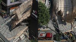 신사역 인근에서 건물 외벽이 무너졌다 (현장 사진