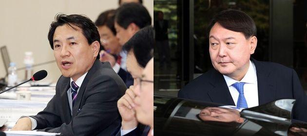 김진태 자유한국당 의원(왼쪽), 윤석열 검찰총장