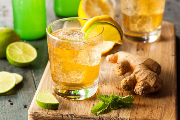Organic Ginger Ale Soda in a Glass with Lemon and