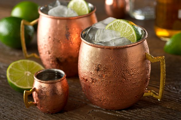 A delicious moscow mule cocktail with vodka, ginger beer, lime juice and
