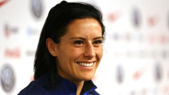 United States defender Ali Krieger speaks to media before a soccer workout at Red Bull Arena, Saturday, May 25, 2019, in Harrison, N.J. The U.S. will play against Mexico in an international soccer friendly on Sunday. (AP Photo/Steve Luciano)