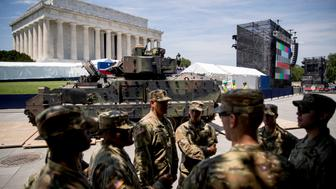 "One of two Bradley Fighting Vehicles driven into place in front of the Lincoln Memorial for President Donald Trump's 'Salute to America' event honoring service branches on Independence Day, Wednesday, July 3, 2019, in Washington. President Donald Trump is promising military tanks along with ""Incredible Flyovers & biggest ever Fireworks!"" for the Fourth of July. (AP Photo/Andrew Harnik)"