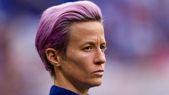 LYON, FRANCE - JULY 02: Megan Rapinoe of the USA looks down prior to the 2019 FIFA Women's World Cup France Semi Final match between England and USA at Stade de Lyon on July 2, 2019 in Lyon, France. (Photo by David Aliaga/MB Media/Getty Images)