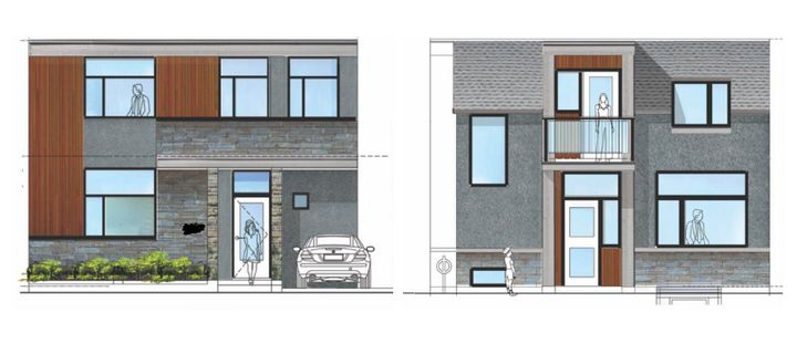 What the Lins anticipate their laneway suite to look like, including a carport backing on to the the laneway (left) and other side facing the backyard.