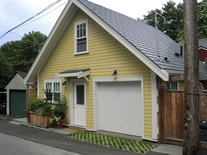 A laneway home in Vancouver, where they've been permitted for a decade. The style is different than in Toronto, where due to height restrictions, homeowners are opting for a flat roof and modern style.