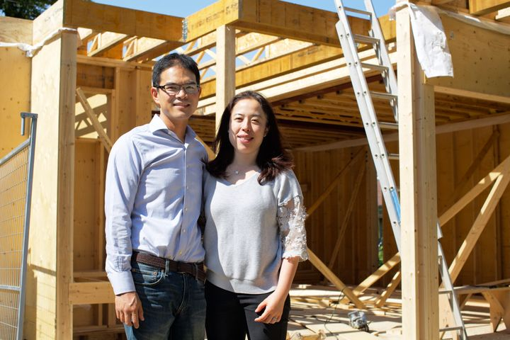 Jeffrey and Shelley Lin stand in front of their soon-to-be laneway suite July 3, 2019. They are among the first homeowners in Toronto to build a rental unit in place of the garage.