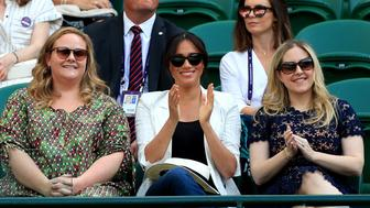 Duchess of Sussex watches Serena Williams on court one on day four of the Wimbledon Championships at the All England Lawn Tennis and Croquet Club, Wimbledon. (Photo by Mike Egerton/PA Images via Getty Images)