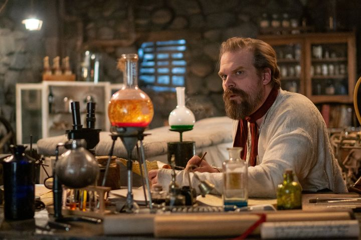 "David Harbour in the mockumentary ""Frankenstein's Monster's Monster, Frankenstein."""