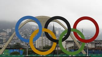 The Olympic rings are pictured at the Sambodromo during the Men's Marathon athletics event at the Rio 2016 Olympic Games in Rio de Janeiro on August 21, 2016.   / AFP / Adrian DENNIS        (Photo credit should read ADRIAN DENNIS/AFP/Getty Images)