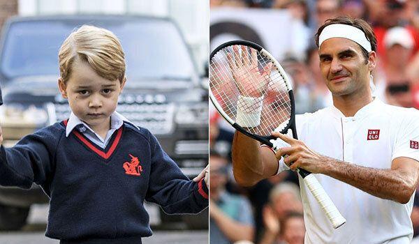 Il principe George prende lezioni di tennis da Roger