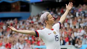 PARIS, FRANCE - JUNE 28: Megan Rapinoe #15 of the United States celebrates her goal in the first half against France during the 2019 FIFA Women's World Cup France Quarter Final match between France and USA at Parc des Princes on June 28, 2019 in Paris, France. (Photo by Elsa/Getty Images)