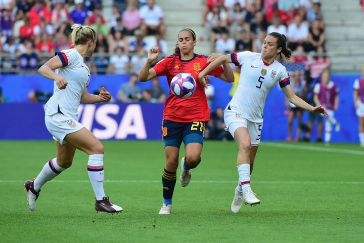 The U.S. plays Spain in a 2019 World Cup game in Reims, France.