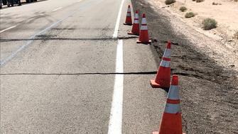 This photo shows damage on Highway 178 in Ridgecrest, Calif., following an earthquake in the area Thursday, July 4, 2019. The earthquake shook a large swath of Southern California and parts of Nevada on Thursday, rattling nerves on the July 4th holiday and causing some injuries and damage in the town near the epicenter, followed by a swarm of ongoing aftershocks. (AP Photo/Matt Hartman)