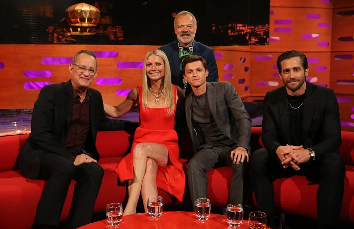 "Host Graham Norton with Tom Hanks, Gwyneth Paltrow, Tom Holland and Jake Gyllenhaal during the filming for ""The Graham Norton"