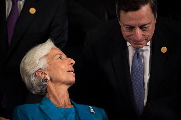 Christine Lagarde, actuelle directrice générale du FMI, et Mario Draghi, actuel président...