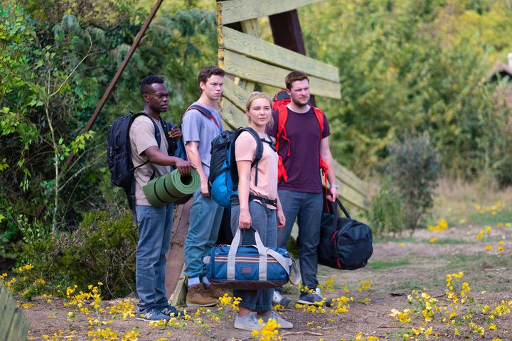 "William Jackson Harper, Will Poulter, Florence Pugh and Jack Reynor in ""Midsommar."""