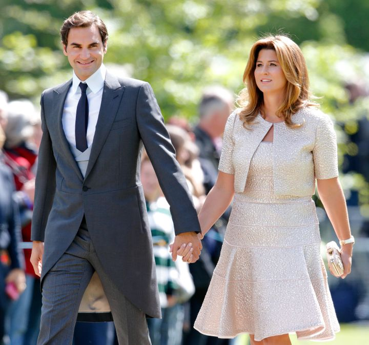 Roger and Mirka Federer attend the wedding of Pippa Middleton and James Matthews at St Mark's Church on May 20, 2017 in Engle