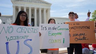 As the Supreme Court justices hear oral arguments over the 2020 census citizenship question, protesters have gathered outside the building in support of a fair and accurate census and demanding to not include the controversial question in the next census. Tuesday, April 23, 2019, Washington, D.C.  (Photo by Aurora Samperio/NurPhoto via Getty Images)