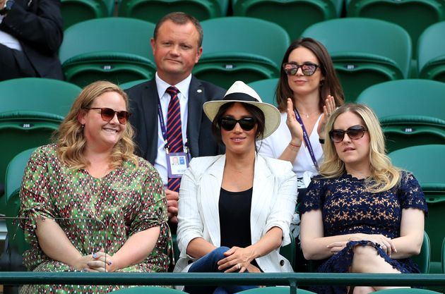 The Duchess of Sussex and friends watching Serena Williams play a match at the Wimbledon tennis tournament...