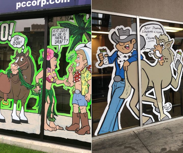 Just a few examples of the images adorning Calgary's storefronts and buildings this week.