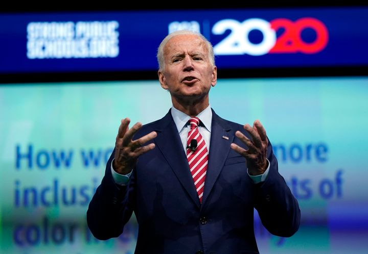 Former Vice President Joe Biden at a candidate forum about education issues on Friday.<br>