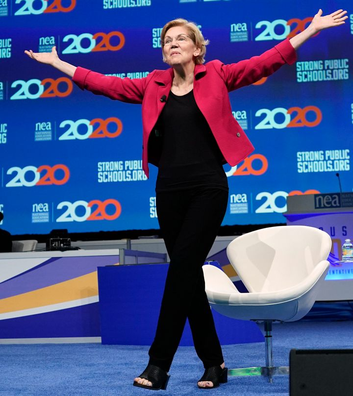 Sen. Elizabeth Warren at the forum hosted by the National Education Association.