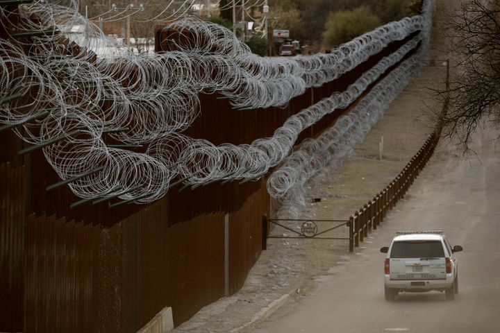 A portion of the border barrier at Nogales, Arizona.