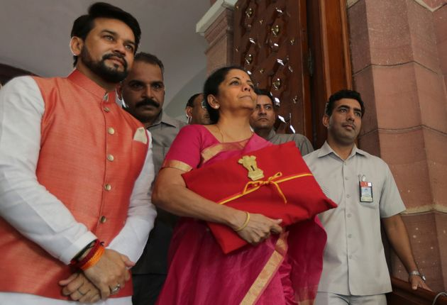 Finance Minister Nirmala Sitharaman (Centre) pictured with the budget