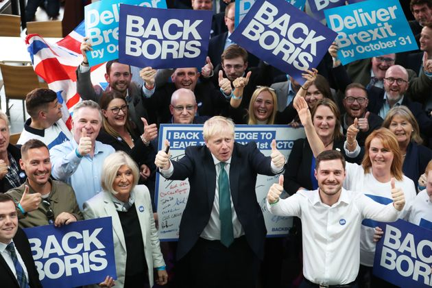 Boris Johnson with his supporters inside Perth Concert Hall,