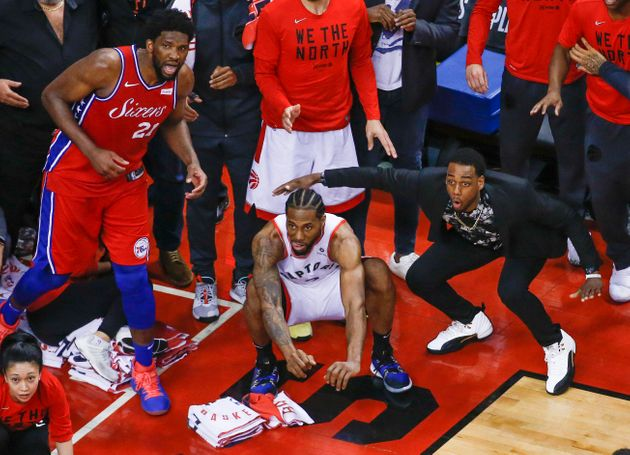 The iconic moment during Game 7 vs. the Philadelphia 76ers: Kawhi Leonard watches his buzzer beater shot...