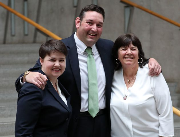 Miles Briggs, Ruth Davidson and (right) Amanda Kopel, whose campaign for free personal care for the under-65s...