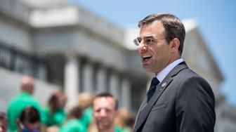 UNITED STATES - JUNE 12: Rep. Justin Amash, R-Mich., speaks to a school group on the House steps at the Capitol on Wednesday, June 12, 2019. (Photo By Bill Clark/CQ Roll Call)